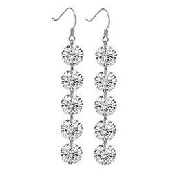 12pairs lot Stunning Round Crystal Earrings Danglers Long Silver Rhinestone Ear Dangle Girls Make Up Decoration je346