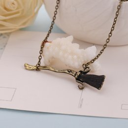 Wholesale 2016 Harry Potter necklaces Broomstick Firebolt broom vintage antique bronze charm necklace film jewelry death hallows magic ZJ