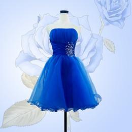 Promotion robe de conception de cristal courte 2015 court robe de bal bleu royal avec cristal nouvelle arrivée mode de conception sweetheart bleu court femmes robe de bal robe blanc