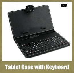 Wholesale 7 inch inch Leather PU Tablet PC Case with Micro Interface USB Port Keyboard fit MID Tablet PC Black Adjustable Cover Free ship PCC015