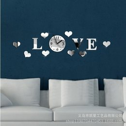 Wholesale KX7 Mirror wall stickers DIY clock personality high grade living room wall style three dimensional Interior decorations stereo circle