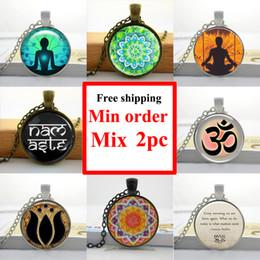 Wholesale NS Glass Cabochon Necklace Sliver Art Om Yoga Pendant Meditation Art Pendant Personalized Picture Necklace