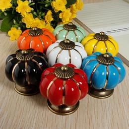 Wholesale Pumpkin Cabinet Knob Ceramics Furniture Handle Knob Drawer Handle Children Room Cartoon Door Cupboard Handle MHM375