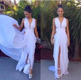Sexy Chiffon Evening Dresses 2015 Deep V neck Ruched A line Side Split Ruffles Hot Party Wedding Gowns Custom made
