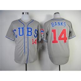 Wholesale Hot Sale Ernie Banks Jersey Grey Chicago Cubs Baseball Jerseys Discount Baseball Shirts Cool Men s Jerseys Hot Sale Sports Team Shirts