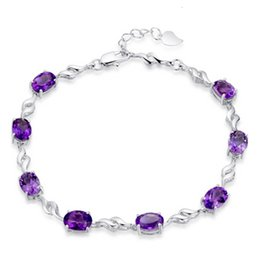 Explosion models selling 925 sterling silver female models natural amethyst bracelet Korean jewelry European and American big necklace
