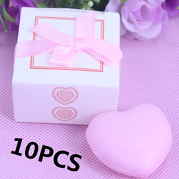Wholesale 10PCS Bulk Personalised Boxed Pink Heart Soap For Girl Baby Shower Souvenirs Bridal Party Wedding Favors and Gifts For Guest