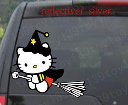 Flying broom   funny Car phone window Decal Sticker color   reflective silver  reflective red