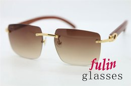 Wholesale Vintage Bamboo Wood Sunglasses Latest Popular Rimless Goggle Sunglasses Hand Made Mens Fashion Sunglasses T8300816