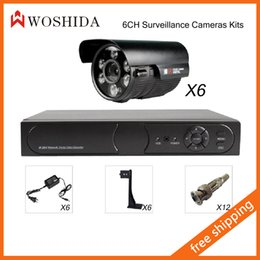 6CH Security Camera System Kit DVR + HD 1200TVL Security Camera IR Array Night Vision Waterproof With Bracket and Power Woshida