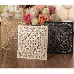 Wholesale Vintage Free Personalized Wedding Invitation Cards Laser Cut Card with Bow in Golden White and Black