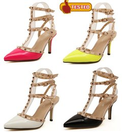 8cm Fluorescent yellow pink T strap rivets sandals summer shoes women high heels novelty designer shoes size 35 to 40
