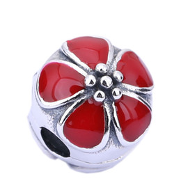 Sterling Silver Charms 925 Ale Red Enameled Floral European Charms for Pandora Bracelets DIY Fixed Beads Accessories Silver Jewelry