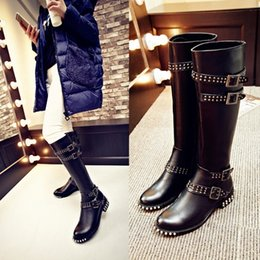 high quality~b089 34 black genuine leather stud belt knee high flat boots luxury designer inspired runway punk