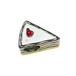 Wholesale Yummy Sandwich White Red Enamel European Spacer Bead Girls Sweet Charms for European Women Bracelets