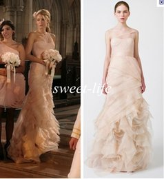 Wholesale Best Selling One Shoulder Organza Ruffle Mermaid Style Blake Lively Bridesmaid Dress Blush Wedding Evening Gowns Prom Celebrity Dress