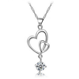 925 sterling silver items crystal jewelry pendant statement necklaces wedding vintage double heart drop shaped charms