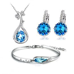 Wholesale Pretty Necklace Bracelet Earring Jewelry Set For Women Top Quality Silver with Blue Austria Crystal Hot Fashion Jewelry OS49
