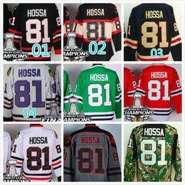 2016 New, Marian Hossa Jersey #81 Chicago Blackhawks Marian Hossa Hockey Jerseys Green Black Red White Gray 2015 Stadium Series Jersey