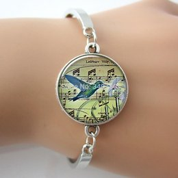 Hummingbird & music bangle,glass dome art picture hummingbird music bracelet ,bird music lover Gift,G053.