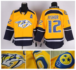 Promotion gros n Hockey sur glace Jersey Cheap Nashville N ° 12 hommes en gros Mike Fisher Maillots Assemblé authentique Sports Hockey Jersey Chine Logos