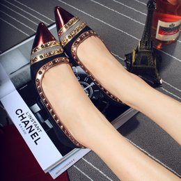 Wholesale Spring Summer Fashion Women s Shoes Flock Patent Leather Pointed Toe Rivets Sexy Slim Flat Heel Women Flats Shallow Mouth