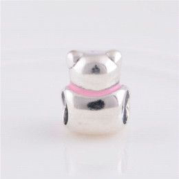 Floating locket charms teddy bear charm 925 Sterling Silver jewelry making fit bracelet diy for women jewelry wholesale LW239A