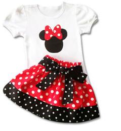 Descuento faldas para las muchachas de los niños 2017 Niñas Mickey Mouse Traje Trajes niños Niños mangas cortas Camiseta Wave Point Faldas cortos Princesa Lace Vestidos Chica plisada falda