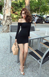 Wholesale 2016 Mini Dress For Women Sexy Off The Shoulder Long Sleeves Backless Over Hip Stretch Bodycon Black Nightclub Dresses