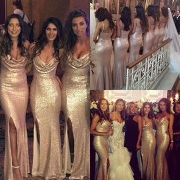 Gold Lace Sequined New Arrival Cheap Modest Mermaid V Neck With Split Floor Length Bridesmaid Dresses Maid Of Honor For Wedding