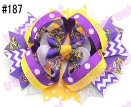 300pcs 5.5'' ring hair bows layered hair bows college team ribbon NCAA girl big bows alabama hair bows-C
