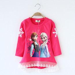 Wholesale Nova Kids Girls Long Sleeve T shirt Cotton Bow Flowers Ben and Holly s Little Kingdom Baby Girl Tops Color