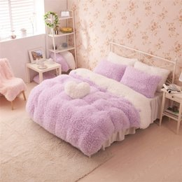 Wholesale Korean kids bedding set pink purple Cashmere bedskirts single warm winter Thicken duvet cover bed spread princess romantic