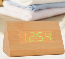 Wholesale best sale Design High Quality Alarm Clocks with Thermometer Table numbers Digital Clock Wood Wooden Clocks LED display