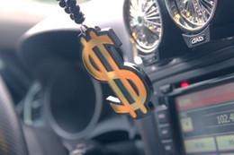 Miroirs suspendus décoratifs à vendre-acrophobie modifié les voitures de gros-Hellaflush pendentif voiture modifiée pendaison miroirs décoratifs clignotent dollar en or
