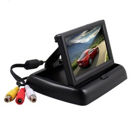 Wholesale Car Roof Lcd Screen - car Foldable 4.3 Inch Anti-G lare Color LCD TFT Rear View Monitor Display Screen