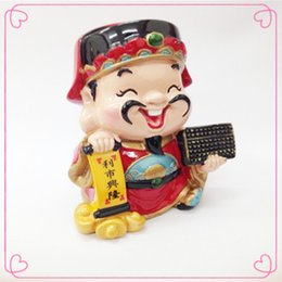 Wholesale Chinese Porcelain Dolls The Chinese God of Wealth Chinaware Ceramic Home Decoration Buddhism Buda Figures Chinese Crafts Toys
