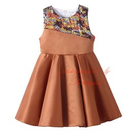 Wholesale Pettigirl Clearance Brown Girls Dresses Stylish Patchwork Kids Dress Decorated With Sequins Baby Wear DMGD81102 Z