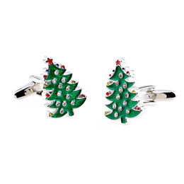 2016 New Fashion Christmas Series Cufflink- Christmas Tree - Green Color