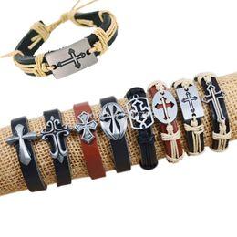 Wholesale 8PCS Fashion Bracelets Bangles Mixed Cross Charms Tribe Genuine Leather Bracelets Jewelry Men Women Bracelet The BEST Quality