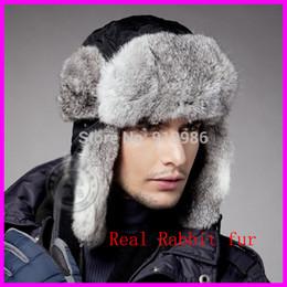Mens volets casquettes d'hiver de l'oreille en Ligne-En gros de haute qualité Mens vraie fourrure de lapin 100% Chapeaux d'hiver avec rabats d'oreille extérieure Casquettes de neige chaud