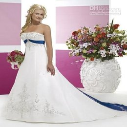 White Embroidery Wedding Dresses Navy Blue Ribbon Belt Wedding Gowns Sleeveless A Line Plus Size Mother Pregnant Gowns