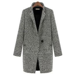 Wholesale-Plus Size Grey Wool Coat Women Long Coat Long Sleeve Dress Single Button Turn Down Collar Female Overcoat Womens Winter Jackets