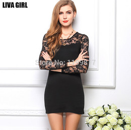 Wholesale-2015 Star Models With Big Size Ladies Lace Stitching Package Hip Bottoming Dress Package Hip Long-Sleeved Dress
