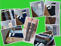 Jambes sexy bas à vendre-Fashion Ladies Crochet bowknot dentelle Knit Boot Leg Warmer Socks Genou Bonneterie filles hiver Boot coton Bas 10pair = 20pcs / lot