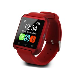 Wholesale U8 Bluetooth Wristwatch Phone Mate With Pedometer Altitude Sports Tracker Bluetooth Music Video Player SMS Messaging Red