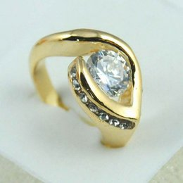 1 pcs Newest Heart-shaped Fashion 14K gold plated round zircon cut crystal woman ring gift Wedding Ring