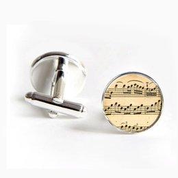 Wholesale 3 pairs Wedding Cufflinks Men s Cuff Links Music Note Cufflinks Music Sheet Note Cuff Link Round Silver Cufflinks