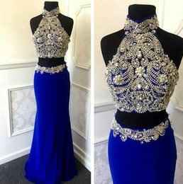 Two Pieces Prom Dresses Crystal Beading Royal Blue Formal Evening Gowns With High Collar Zip Back Floor Length Chiffon Pageant Dresses