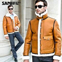 Wholesale Fall men s luxury fur coat Australian sheep wool fur coat men sheepskin Fur overcoat leather luxury men